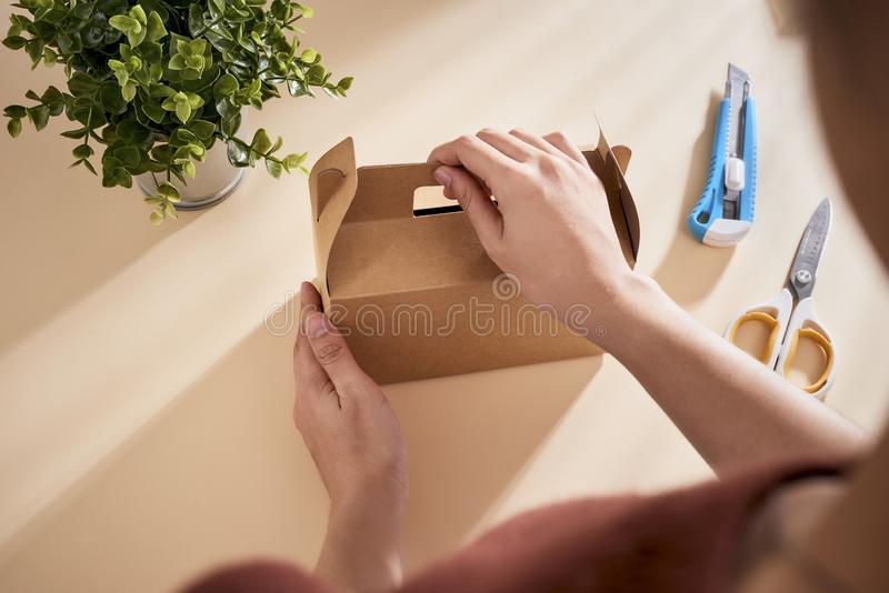 Making a gift box. DIY concept. Step-by-step photo instruction.  royalty free stock image