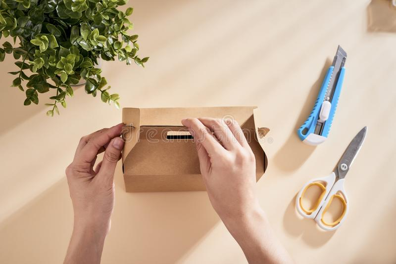 Making a gift box. DIY concept. Step-by-step photo instruction.  stock photos