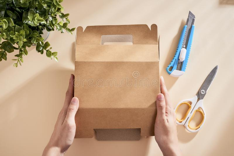 Making a gift box. DIY concept. Step-by-step photo instruction.  stock photo