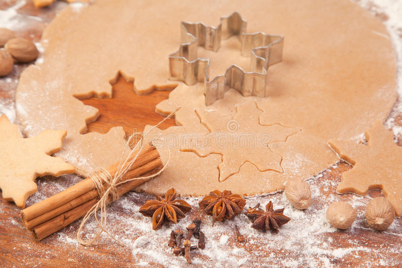 Making Ginger Bread Christmas Cookies royalty free stock image