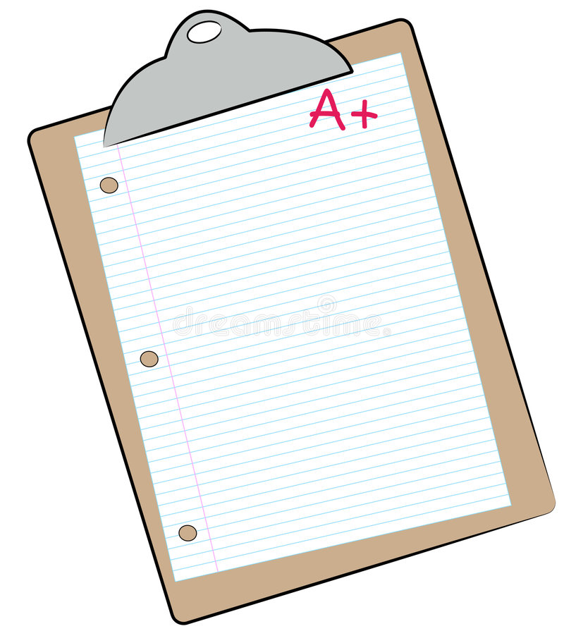 Making the grade. Clipboard with lined paper marked with A+ - making the grade - vector stock illustration