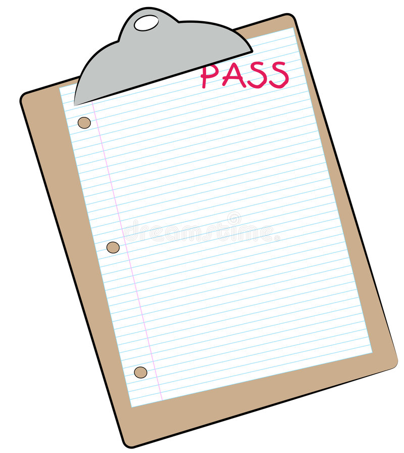 Making the grade. Clipboard with lined paper marked pass - making the grade - vector vector illustration