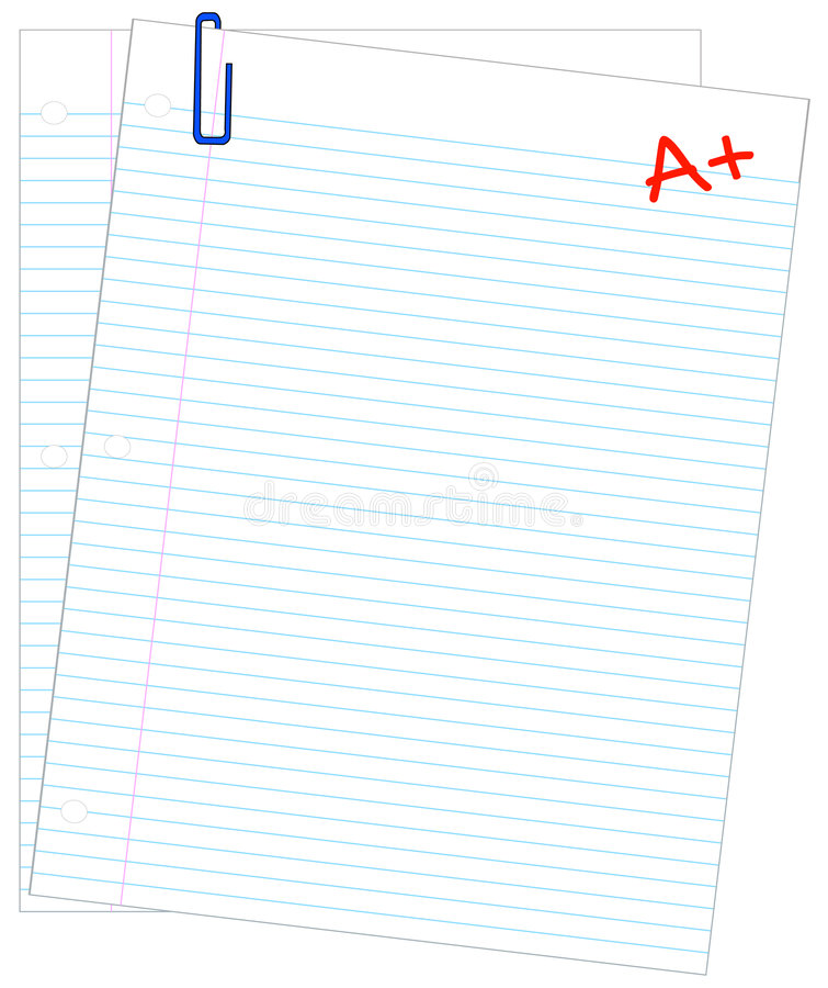 Making the grade. Two sheets of lined paper with A + - making the grade - vector stock illustration