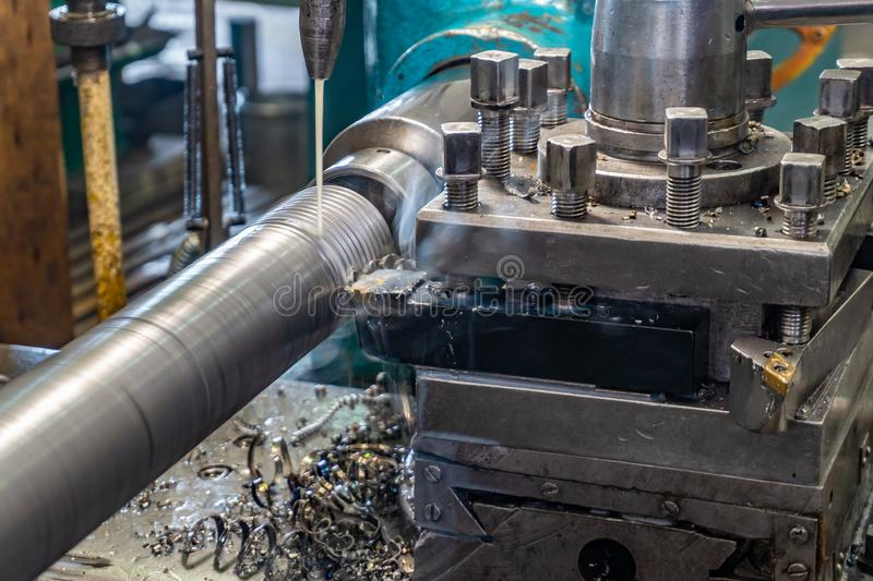 Making a on a lathe stock photography