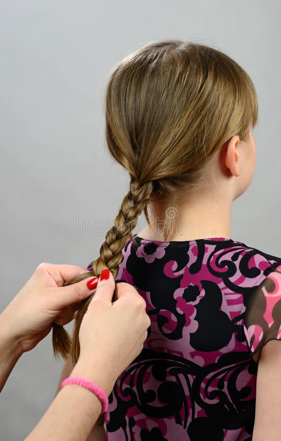 Download Making A Hair Braid For Little Girl Stock Photo - Image: 23050920