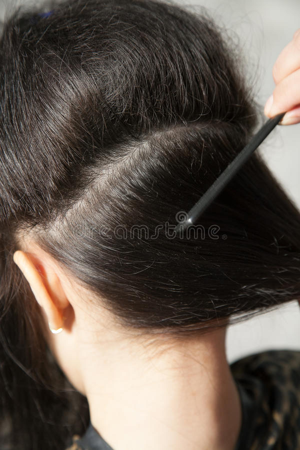 Making hair parting stock photos
