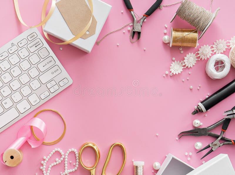 Making of handmade jewelry. bead making accessories. Image of jewelry making tools and accessories stock photos
