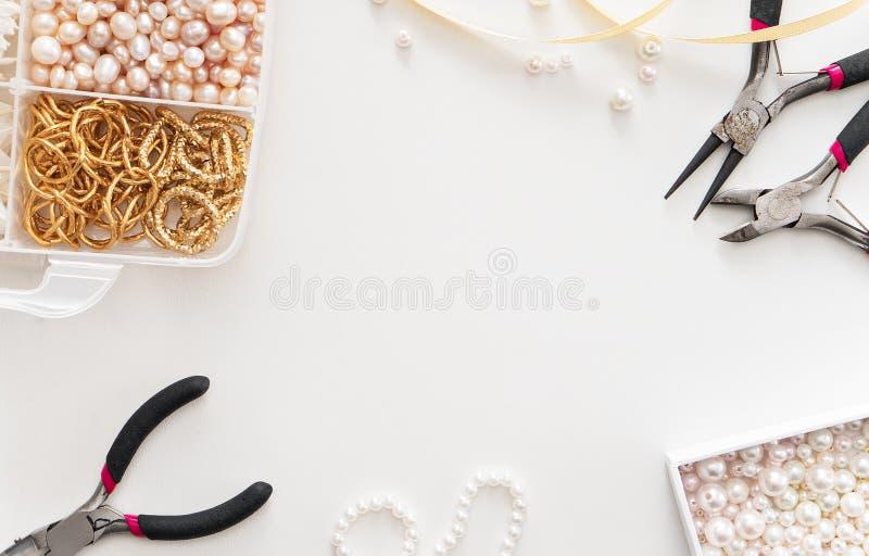 Making of handmade jewelry. bead making accessories. Image of jewelry making tools and accessories royalty free stock image