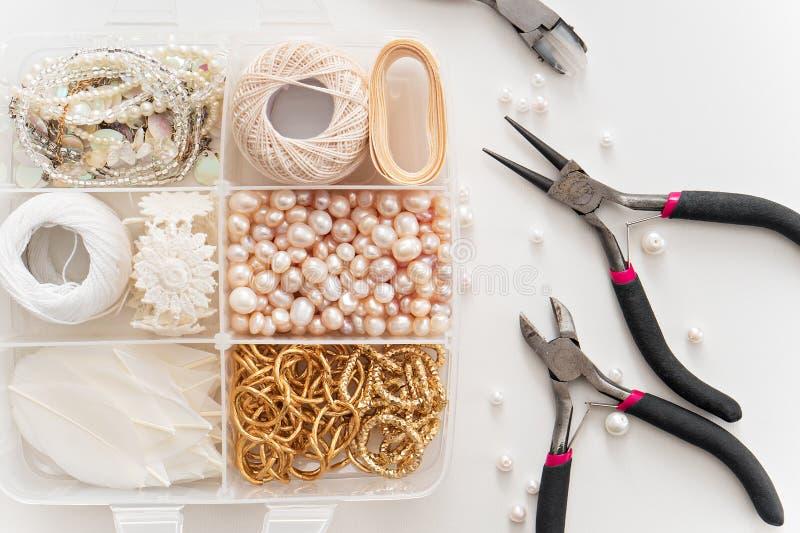 Making of handmade jewelry. bead making accessories. Image of jewelry making tools and accessories stock image