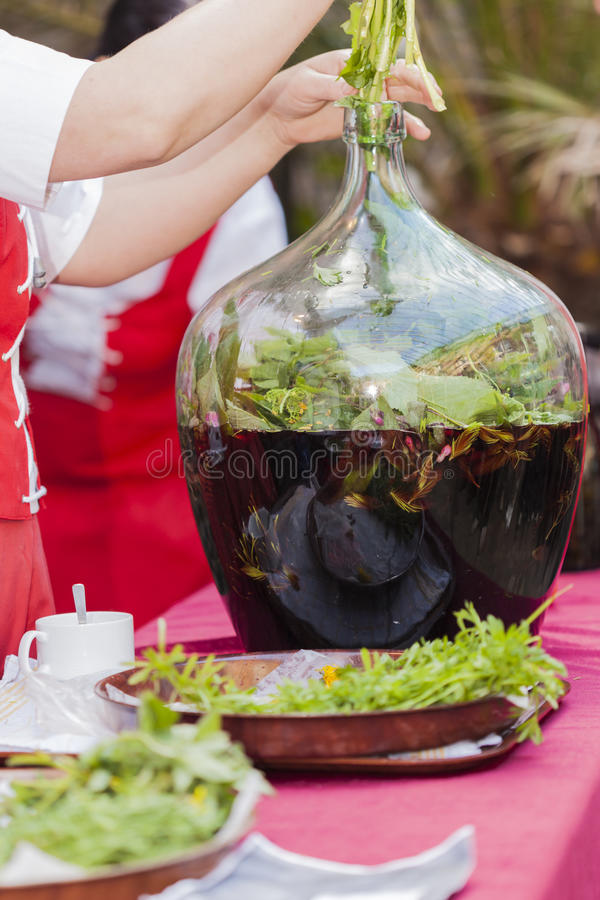 Making herbal liqueur stock photography