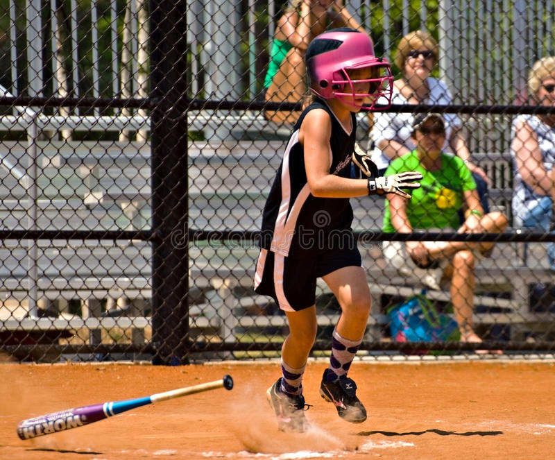 Making A Hit Girl S Softball Editorial Photo
