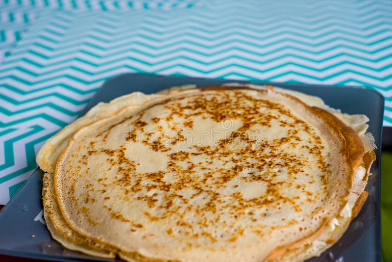 Making of home made pancakes. Close up view stock photo