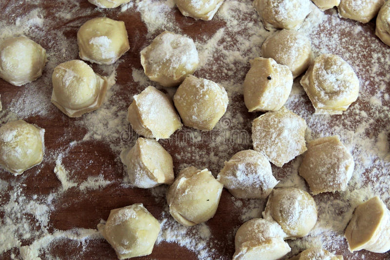 Making homemade ravioli. Preparation of meat dumplings . Close up royalty free stock photography