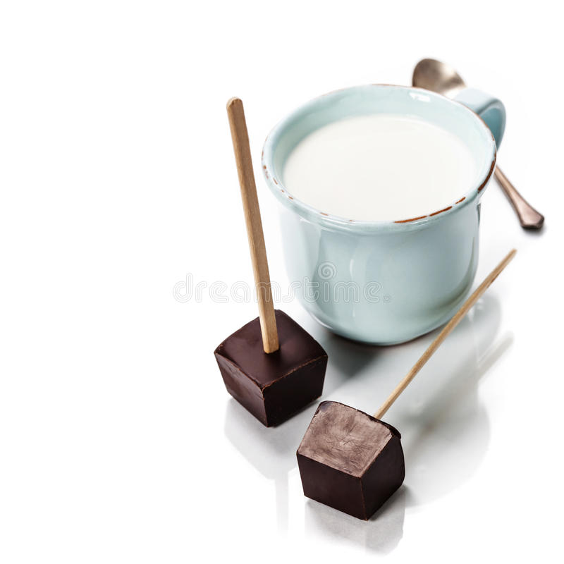 Making hot chocolate stock images