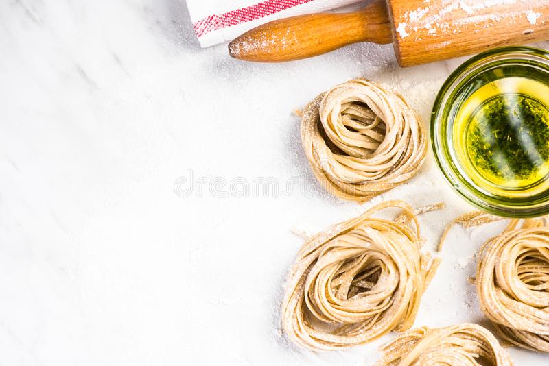 Making italian pasta at home, copyspace background stock photography
