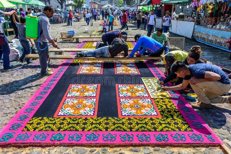 Making Lent carpets, Antigua, Guatemala royalty free stock photos