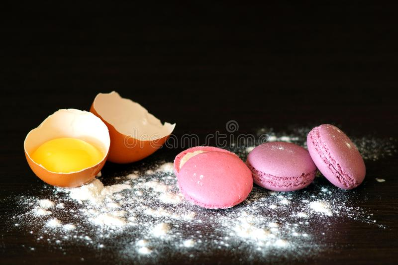 Making macarons. Homemade sweet France macarons. stock photo
