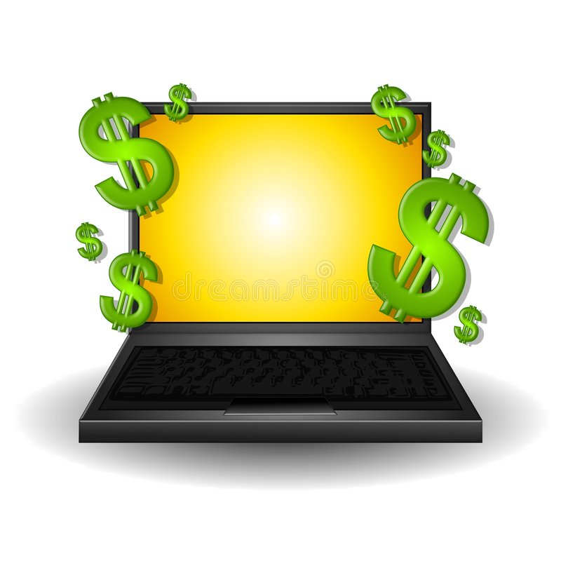 Making Money On The Web. An illustration featuring a laptop with gold screen surrounded with green dollar signs to represent making money online