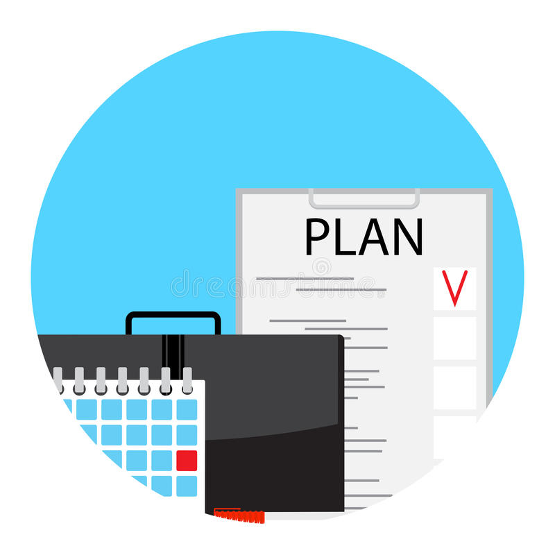 Making monthly business plan for deadline stock illustration