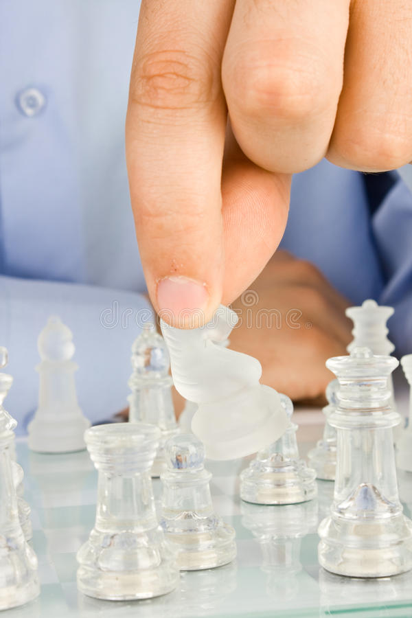 Free Making Move On Glass Chessboard Royalty Free Stock Images - 14526539