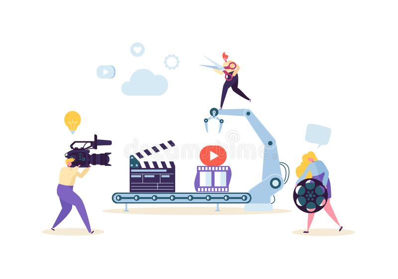 Making Movie, Video Production Concept. Television Operator with Camcorder. Videography, Characters Shooting Film royalty free illustration
