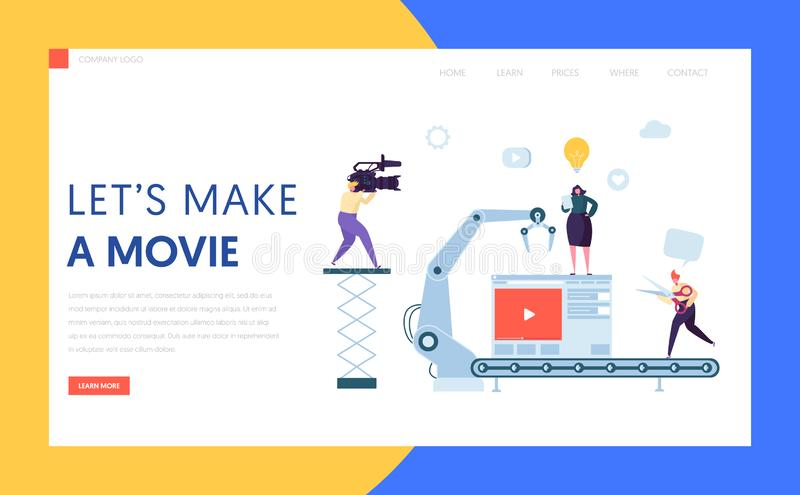 Making Movie, Video Production landing page. Template. Characters Shooting Film, Motion Picture Camera for website or web page. Vector illustration vector illustration