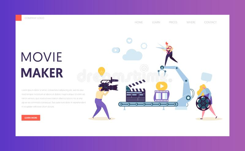 Making Movie, Video Production landing page. Template. Characters Shooting Film, Motion Picture Camera for website or web page. Vector illustration royalty free illustration