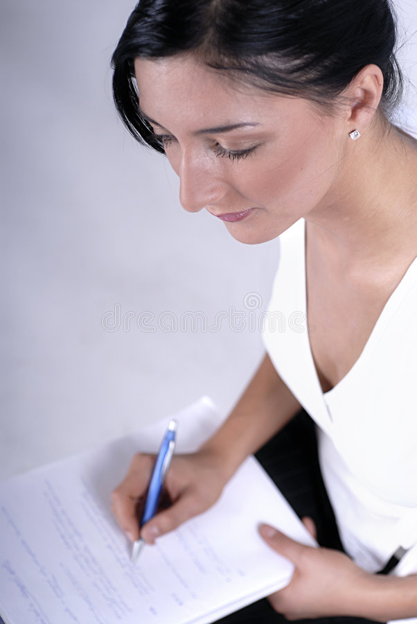 Making a notes stock photo