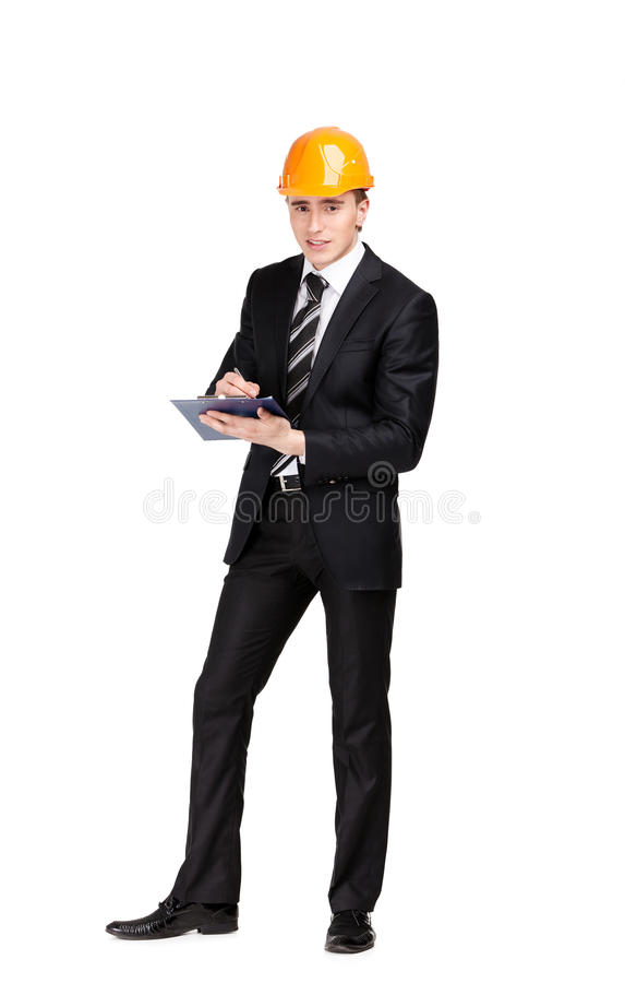 Making Notes Man In Hard Hat Stock Photography
