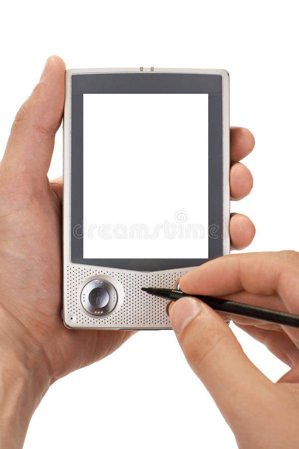 Download Making Notes On Pocket Computer. Isolated Royalty Free Stock Photos - Image: 19761618
