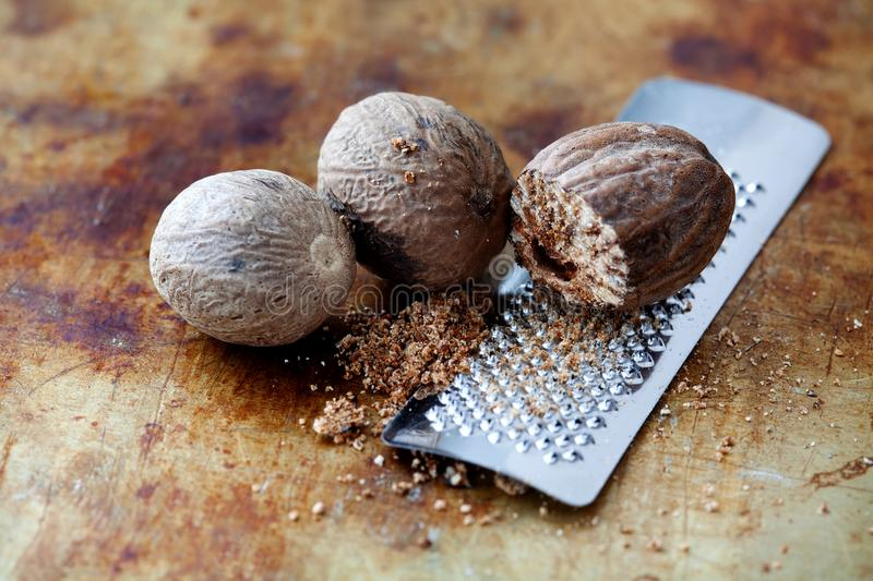 Making nutmeg powder process. Nuts silver grater. Kitchen still life photo. Shallow depth of field, aged brown rusty. Background. Selective focus royalty free stock images