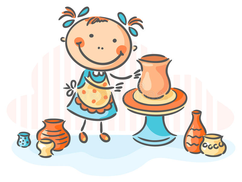 Making pottery as a creative activity royalty free illustration