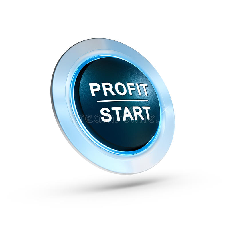 Making Profit. 3D illustration of a profit start button over white background with blue light. Finance concept vector illustration