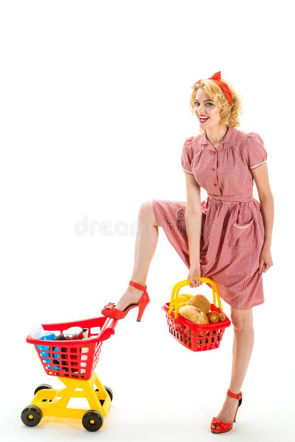 Making the retail connection. Looking good. Great day for shopping. happy retro woman go shopping isolated on white. Copy space. customer made order and payed stock photography