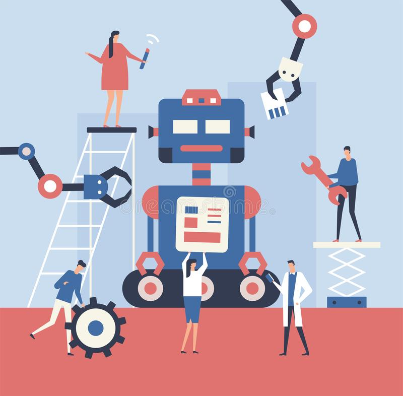 Making a robot - flat design style illustration. Metaphorical composition with cute characters, workers fixing a big mechanism. Teamwork, service and settings stock illustration