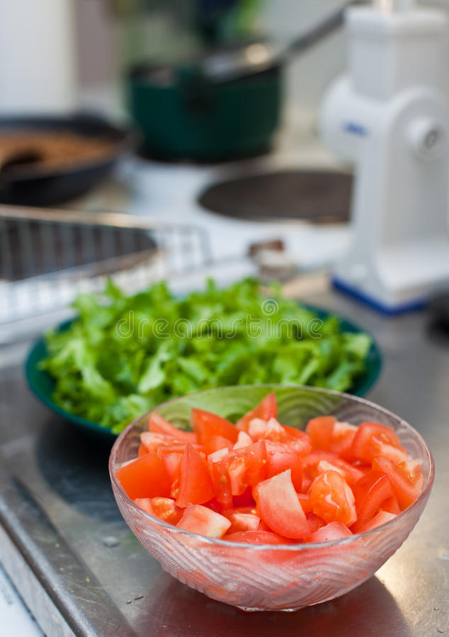 Download Making Salad In Kitchen Stock Images - Image: 15763954