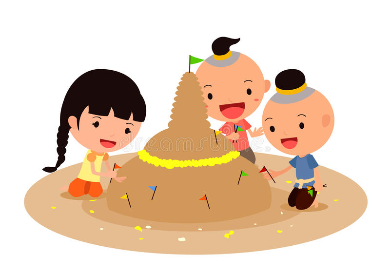 Making sand pagodas with colorful flags and flowers royalty free stock photos