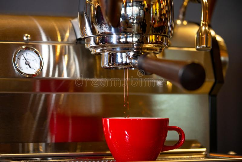 Making Silky Espresso Coffee. Perfect Flow and  Amora royalty free stock photos