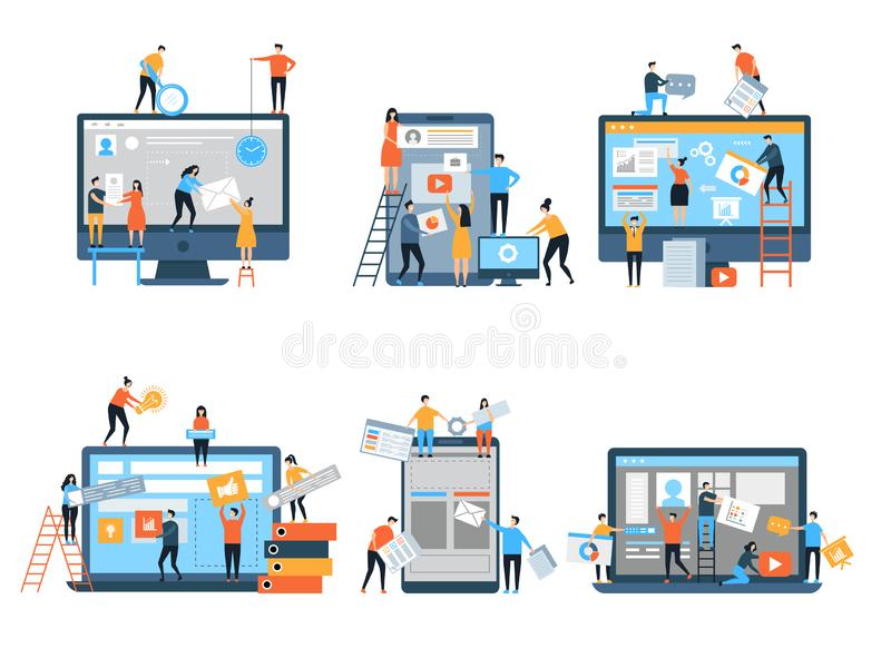 Making site. Web pages under construction seo optimization marketing simple people group business team vector stylized vector illustration