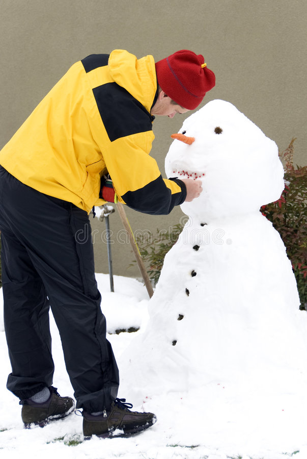 Download Making the snowman stock image. Image of build, morning - 7298111