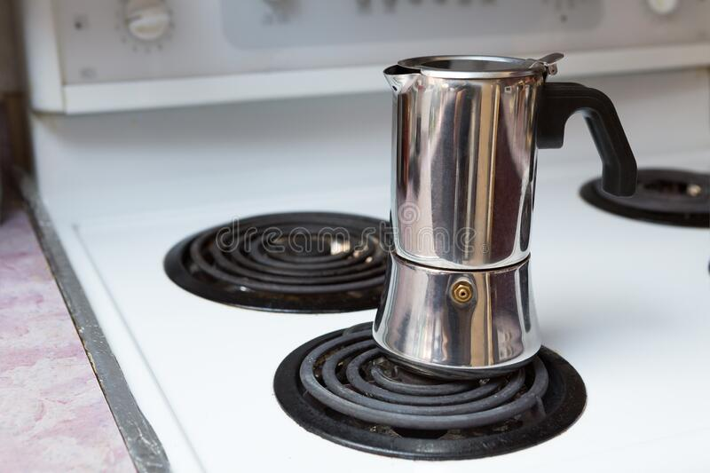 Making Stove Top Coffee royalty free stock photos