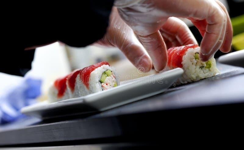Making sushi stock photos