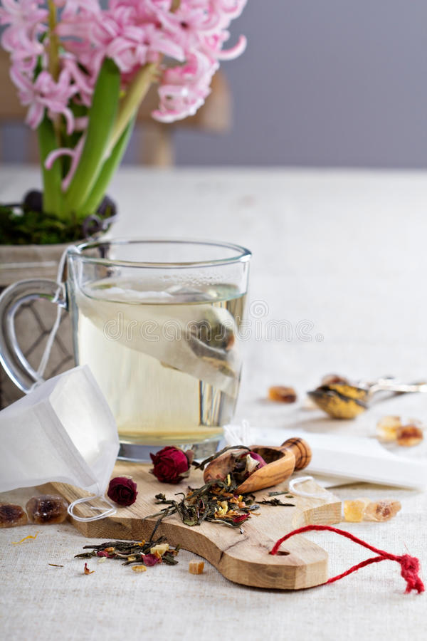 Making tea with teabags royalty free stock image