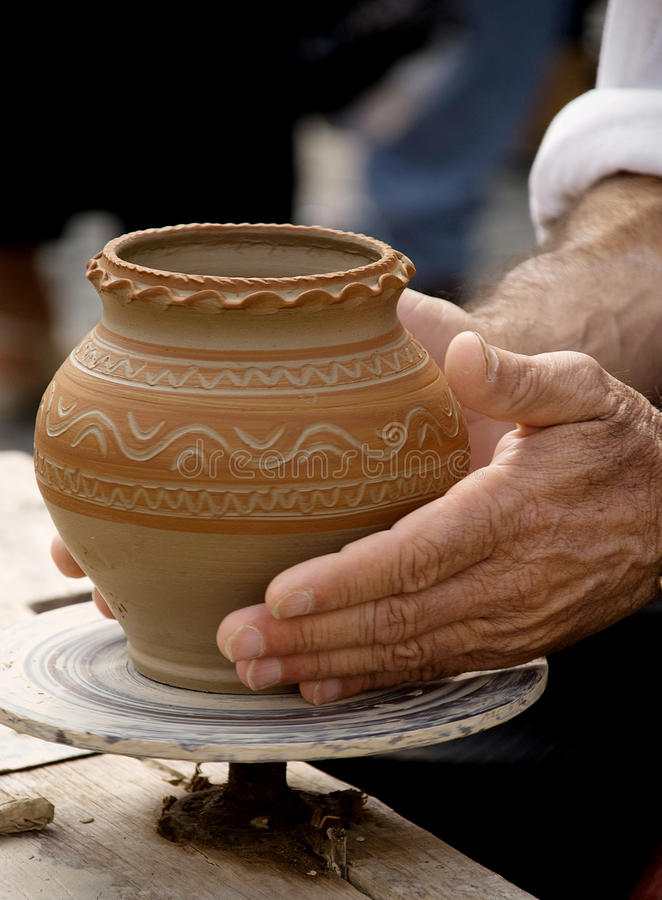 Making traditional pottery stock photo