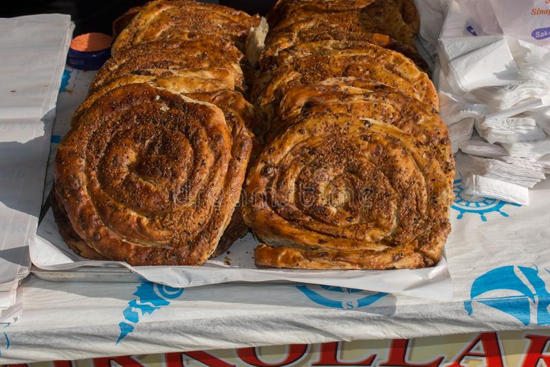 Making of traditional turkish gozleme pancake stock photo