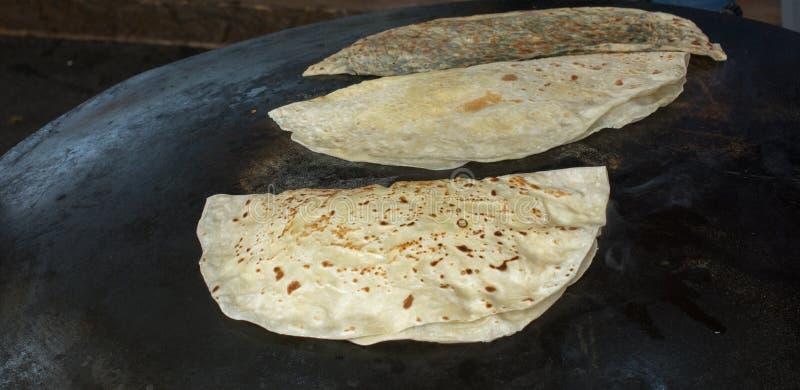 Making of traditional turkish gozleme pancake stock image