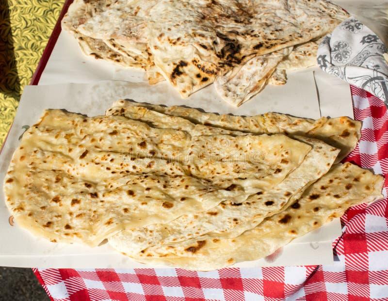 Making of traditional turkish gozleme pancake stock photos