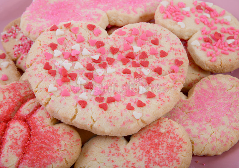 Making Valentine Cookies royalty free stock image