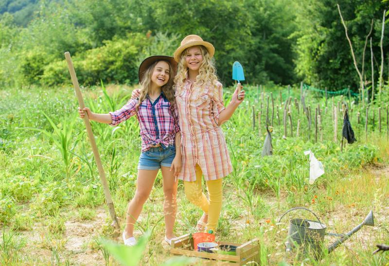Making your life happy. children work in field use gardening tool. earth day. summer family farm. happy farming. spring. Country. nature protection. Rich royalty free stock image