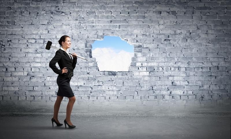 Making your way in business. Mixed media royalty free stock image